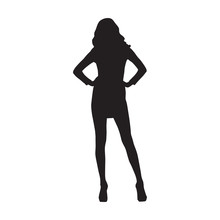 Business Woman Standing With Hands On Hips, Isolated Vector Silhouette. Front View