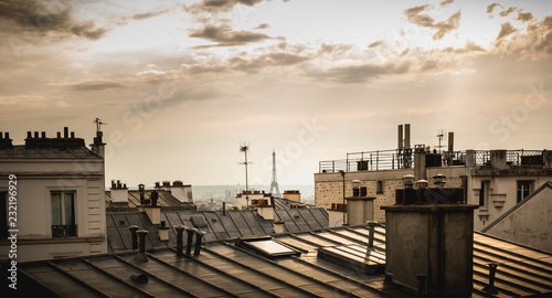 Wall Murals Paris View of the Eiffel Tower above the rooftops of Paris
