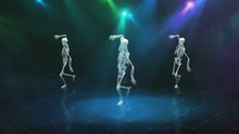 Three Dancing Skeleton In Smoke On A Bright Blinking Scene, Seamless Loop Animation
