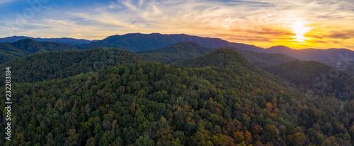 Fototapeta smoky mountains during sunset obraz