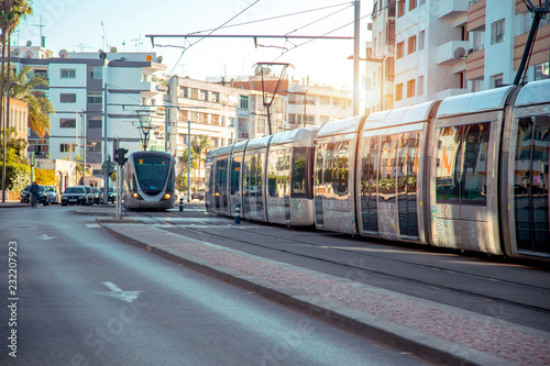 Modern French built tram in the centre of Rabat. The Rabat-Sale tramway system consists of 2 lines