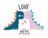 Fototapeta Dinusie - Dinosaur couple lover happy valentine's day cartoon doodle vector illustration