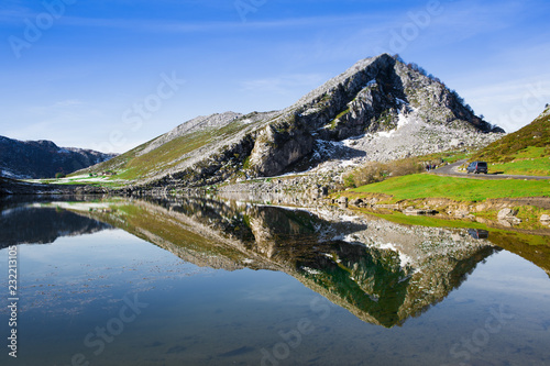 Canvas Prints Reflection Reflections on the lake Enol de Covadonga, Spain