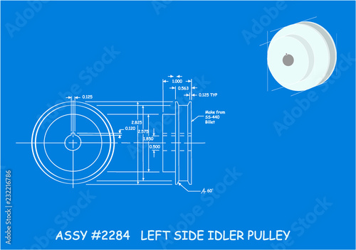 Vászonkép  Typical blueprint drawing of an Idler Pulley