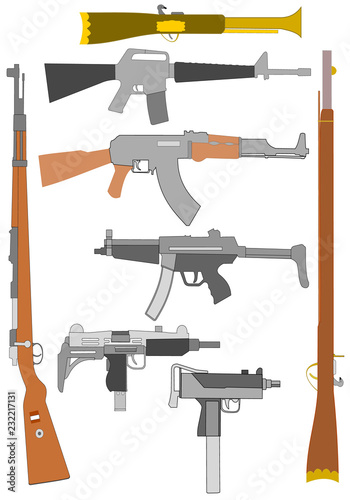 Drawing of various types of military armaments Canvas Print