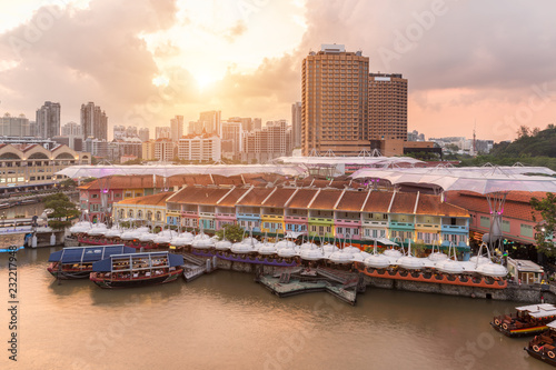 Colorful light building at night in Clarke Quay, Singapore Wallpaper Mural