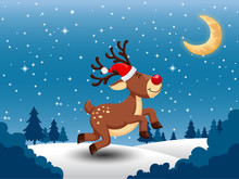 Merry Christmas And Happy New Year. Vector Greeting Card With Cute Little Deer A Red Nose. Snow With On The Background. Decorative Element On Holiday.