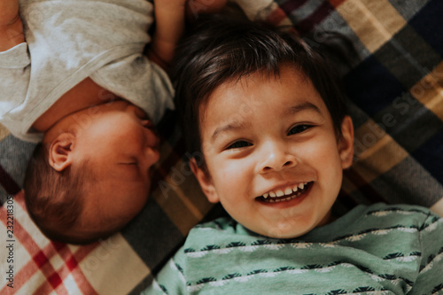 Fototapeta  Lifestyle portrait of a brotherly love