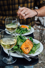 Salad With Olive Oil And Vinegar Salmon Wine