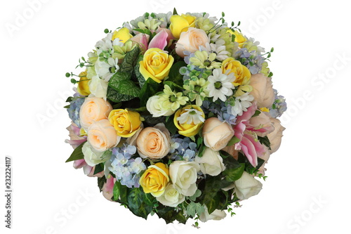 Cuadros en Lienzo Artificial sphere of flower arrangement and decoration in ball shape isolated on