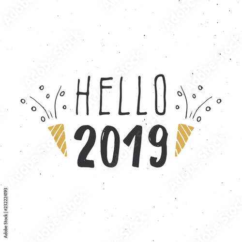 New Year greeting card, hello 2019 Canvas-taulu