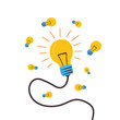The lamp is shining. Many lamps of different sizes are scattered. Cartoon vector. Concept of successful creative ideas.