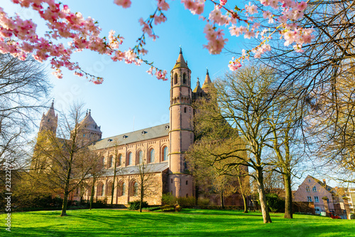 Photo  historical Worms Cathedral in Worms, Germany