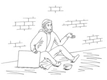 Beggar Is Holding A Poster, Asking Money And Sitting On The Street Graphic Black White Sketch Illustration Vector