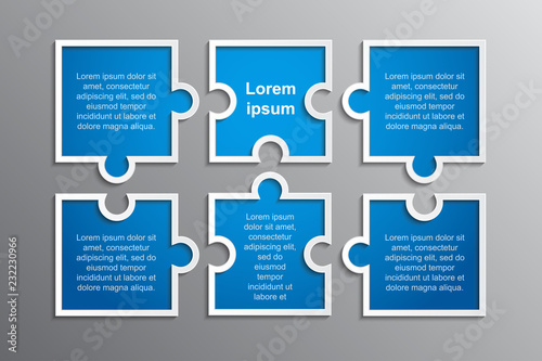 Photographie The Puzzle Infographics. Jigsaw Six Steps Puzzle.