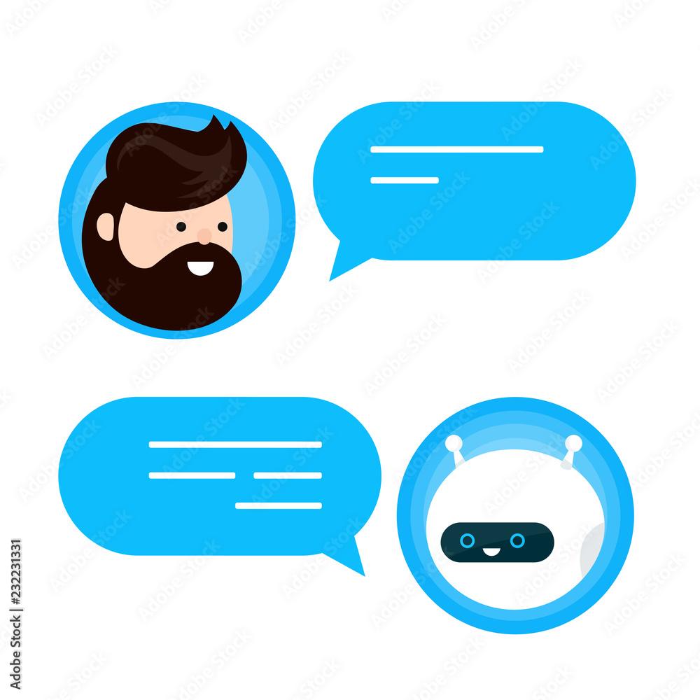 Fototapeta Cute smiling chat bot is written off