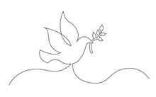 Continuous Line Concept Sketch Drawing Of Dove With Olive Branch Peace Symbol
