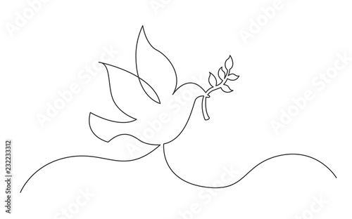 Fotomural continuous line concept sketch drawing of dove with olive branch peace symbol