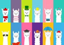 Llama Alpaca Set. Cute Funny C...