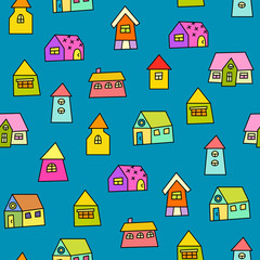 Panel Szklany Kolorowe domki Doodle hand drawn town seamless pattern. Abstract wallpaper. Vector illustration for your cute design.