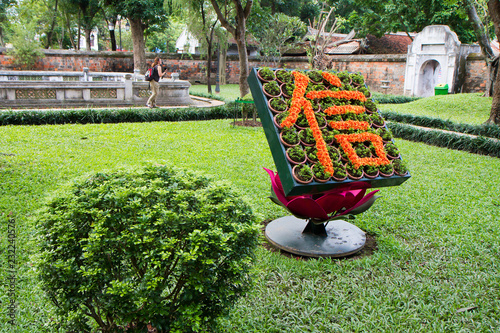 Hanoi, Vietnam, Chinese character made up of flowers with a good wish in the temple of Literature.