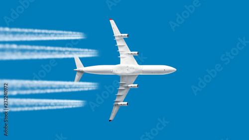 Foto auf Gartenposter Blau Jeans modern jet engine airplane with contrail in white color scheme flying on blue sky panoramic aviation air travel landscape background aircraft departure airport isolated silhouette aerial view template