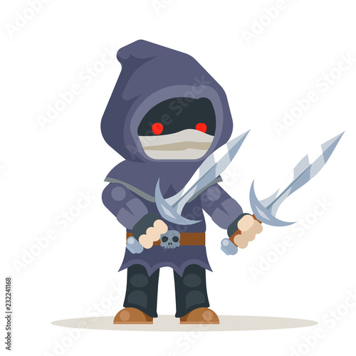 Photo  Assassin outlaw thief burglar fantasy medieval action RPG game character layered