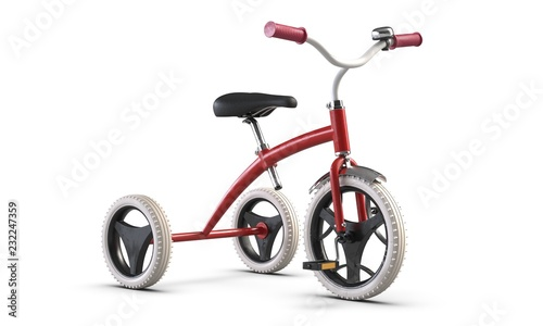 Foto  3D illustrate of Children's tricycle pink bicycle isolated on white background