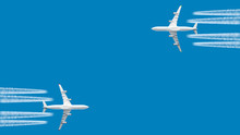 Modern Jet Engine Airplane With Contrail In White Color Flying On Blue Sky Panoramic Aviation Air Travel Landscape Background Aircraft Departure Isolated Silhouette Aerial Corner Cross View Template
