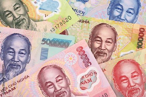 Valokuvatapetti Vietnamese money a business background