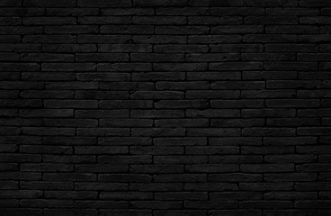 Old dark black brick wall texture with vintage style for background and design art work.
