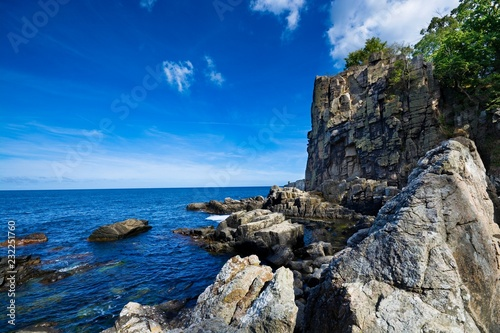 Foto op Plexiglas Kust Sheer cliffs of the northern coast of Bornholm island - Helligdomsklipperne (Sanctuary Rocks), Denmark