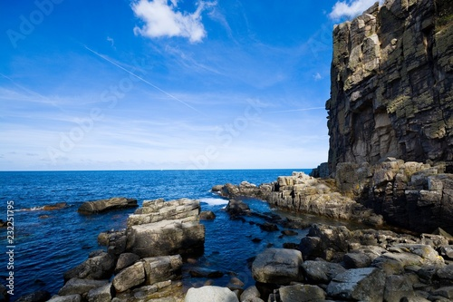 Tuinposter Kust Sheer cliffs of the northern coast of Bornholm island - Helligdomsklipperne (Sanctuary Rocks), Denmark
