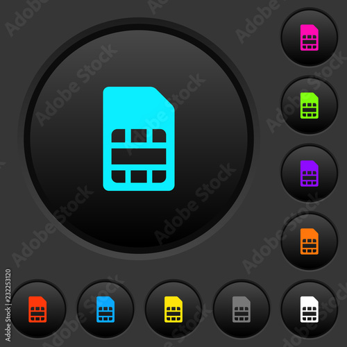 Fotografija  SIM card dark push buttons with color icons