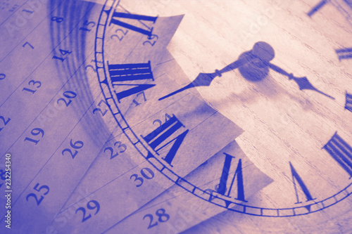 Fototapeta Vintage clock and calendar, time concept