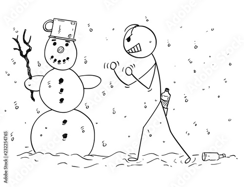 Fotografija  Cartoon stick drawing conceptual illustration of drunk or drunken man who is trying to fist fight with snowman by mistake