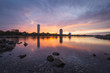 The River Rhine and the the city of Bonn, Germany, at sunset
