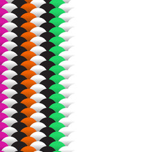 Abstract Scales Simple Background With Circle Pattern Marine Green Orange Pink Black White. Applicable For Placards Banners Posters Flyers. Vector