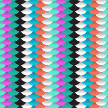 Seamless Pattern Abstract Scales Simple Background With Circle Pattern Lilac Violet Orange Blue Black White. Vector