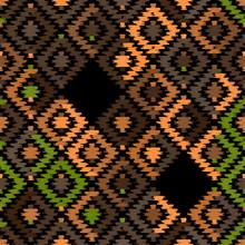 Seamless Pattern Turkish Carpet Beige Orange Khaki Brown Black. Patchwork Mosaic Oriental Kilim Rug With Traditional Folk Geometric Ornament. Tribal Style. Vector