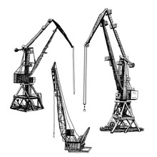 Port Crane Machinery Building Tower Construction. Hand Drawn Sketch Illustration. Black Silhouette Isolated On White Backgraund. Vector