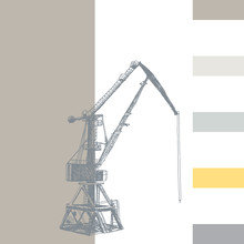 Port Crane Machinery Building Tower Construction. Hand Drawn Sketch Illustration. Silhouette On White Brown Gray Backgraund. Applicable For Placards Banners Posters Flyers. Vector