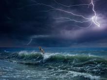 Huge Lightning In Dark Sky Abo...
