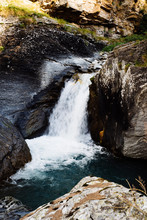 River Waterfall In The Mountains Slow Flowing Water Photographic Effect Slow