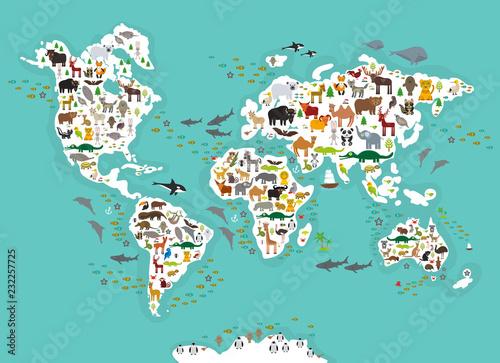 Fototapeta mapa świata dla dzieci  kreskowka-mapa-swiata-zwierzat-dla-dzieci-i-dzieci-zwierzeta-z-calego-swiata-biale-kontynenty