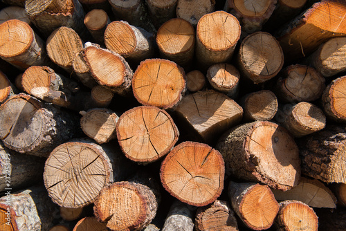 Lumber. Fire logs. Firewood natural background. Woodpile in sawmill.