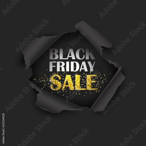 Fotografia  Torn Paper Black Friday Sale. Vector illustration