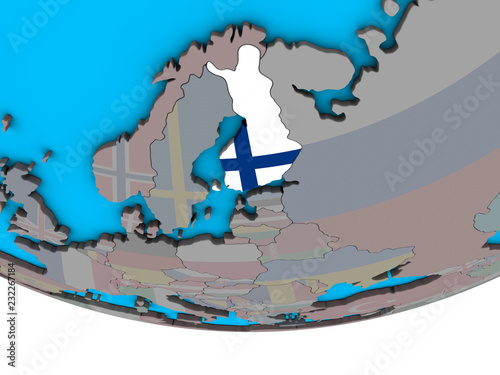 Fotografie, Obraz  Finland with embedded national flag on simple political 3D globe.