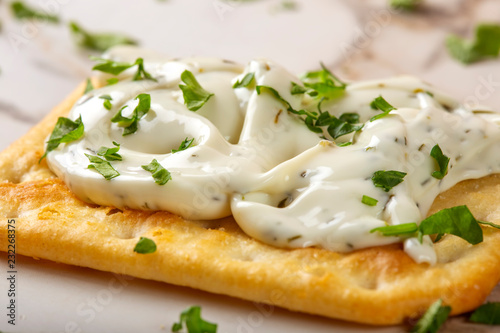 Foto op Canvas Buffet, Bar Salted biscuit with cheese cream and herbs