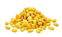 Boiled Corn Kernels Pile / Heap Side View Isolated On White Background.